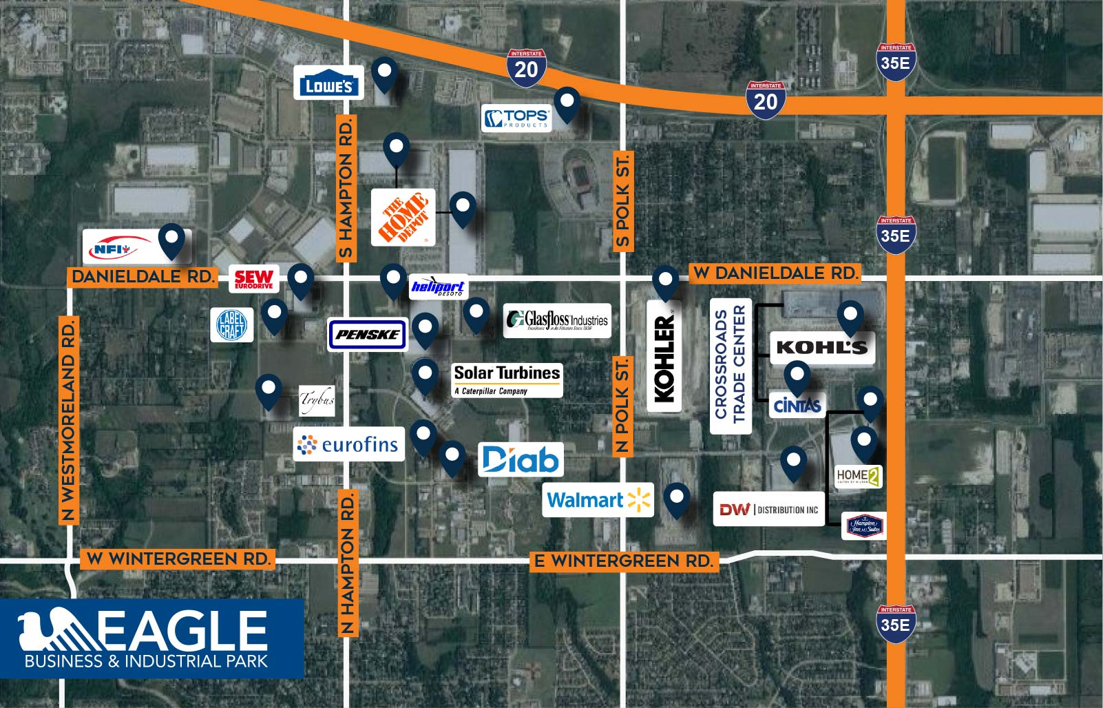 Aerial map of Eagle Business & Industrial Park